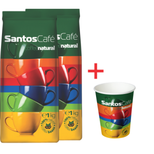 SantosCafe Natural 2 бр х 1 кг + подарък стек чаши