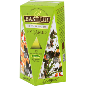 Basilur Букет ЗЕЛЕНА СВЕЖЕСТ - зелен чай пирамида 2 г х 15 бр